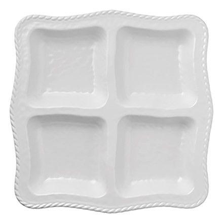 Merritt White Rope 13\  Square Outdoor Melamine 4 Part Tray Platter  sc 1 st  Pinterest & Merritt White Rope 13\