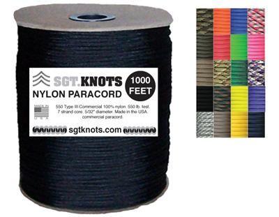 100 feet on Winder 50+ Colors SGT KNOTS Paracord 200 Foot spools - 1,000 Foot spools