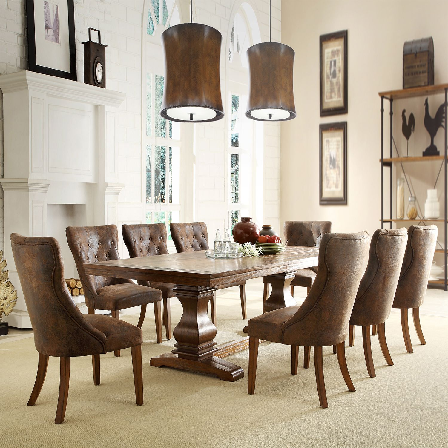 Atelier Traditional French Burnished Brown Pedestal Dining Set by iNSPIRE Q  Classic by iNSPIRE Q