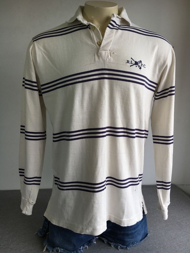 f796c283 POLO Ralph Lauren Rugby Shirt 90's Vintage RLPC Club Crew Sewn Paddle Sewn  USA L #PoloRalphLauren #PoloRugby