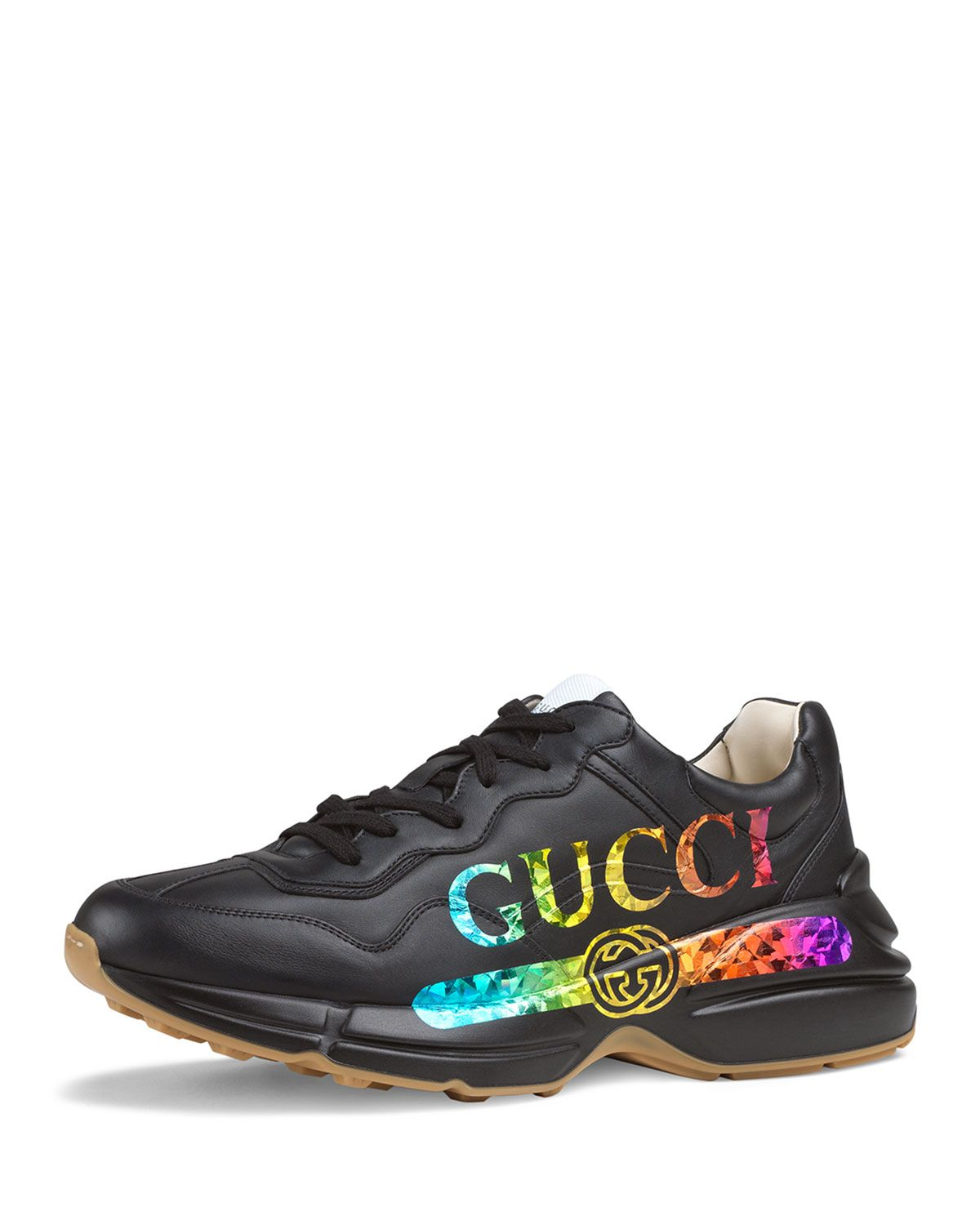 578923b72 GUCCI MEN S RHYTON LOGO-PRINT LEATHER SNEAKER.  gucci  shoes