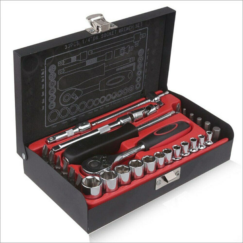 "Tools kit 33pcs 1/4"" Socket Wrench Set Ratchet Handle"