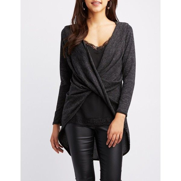 d82fd3d3e1f Charlotte Russe Marled Wrap-Front Tunic Top ($18) ❤ liked on Polyvore  featuring tops, tunics, grey, fitted tunic, layered tops, knit top, wrap  tunic and ...
