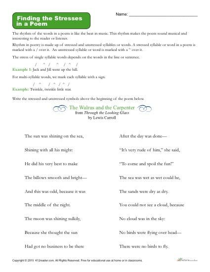 Finding The Stresses In A Poem K12 Pinterest Syllable