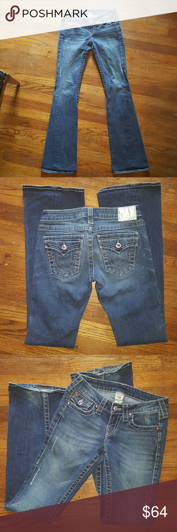 True Religion Womens Sz 26/33 inseam Condition- Like New  Absolutely no signs of wear  Smoke free home.  Limited Edition worth pink stones May trade for $70 value True Religion Pants Boot Cut & Flare