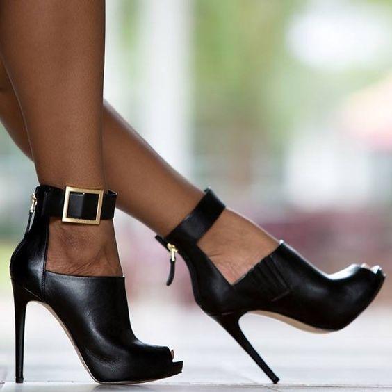 Shoespie Black Gebuine Zipper Buckles Ankle Boots