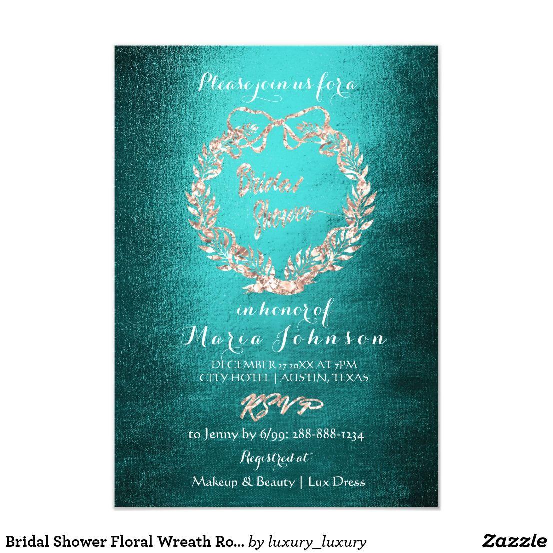 Bridal shower floral wreath rose gold teal invitation