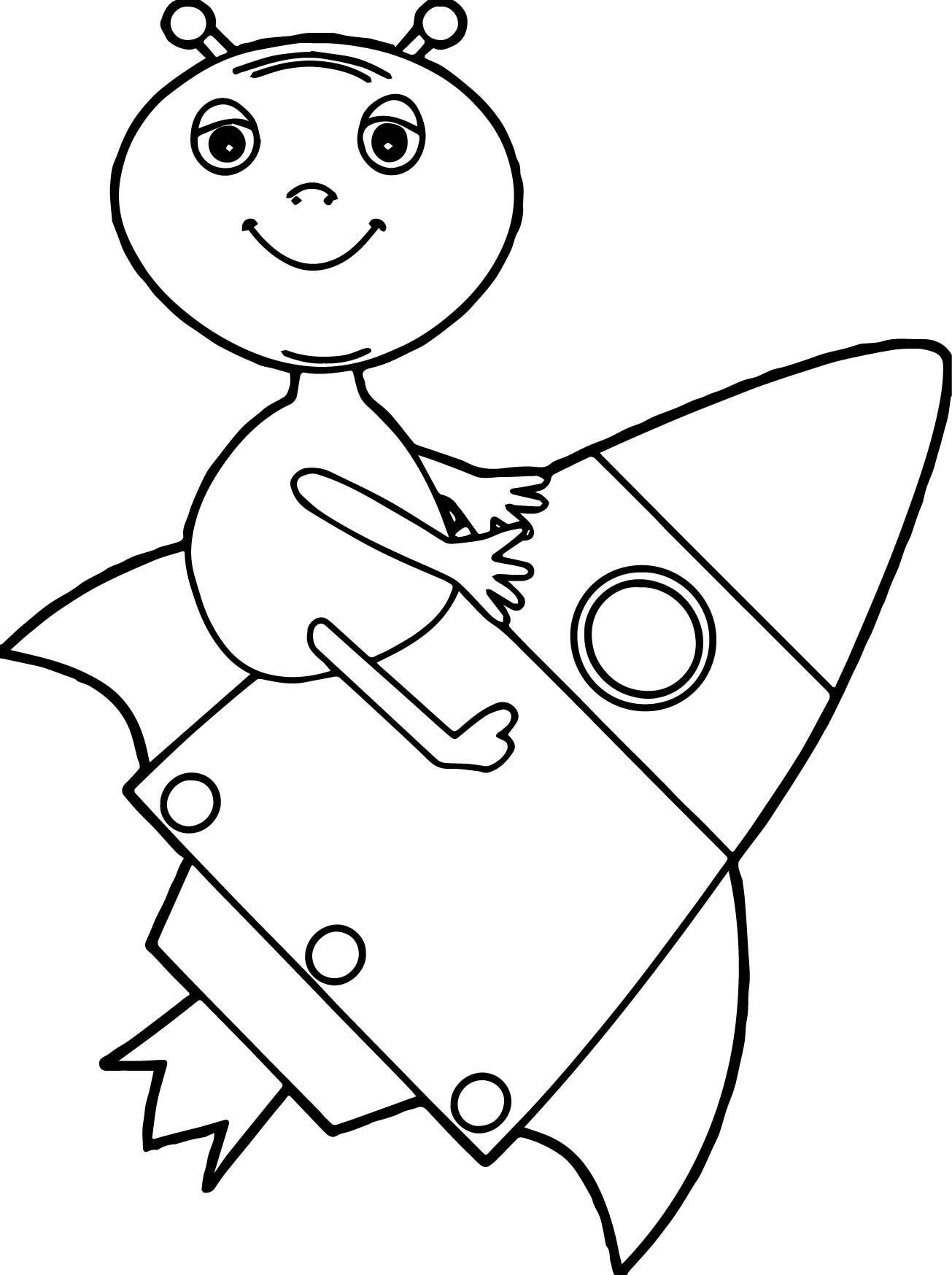 cool Alien Drawing Rocket Coloring Page | wecoloringpage | Pinterest ...