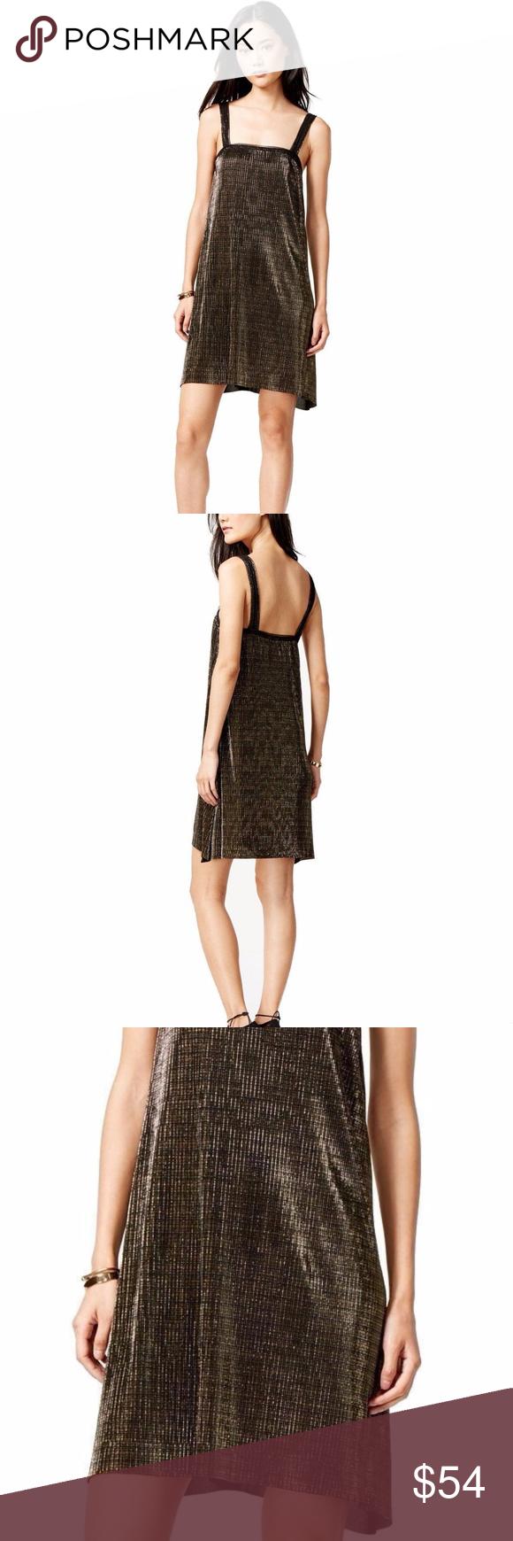 Rachel roy new metallic gold black shift dress boutique black