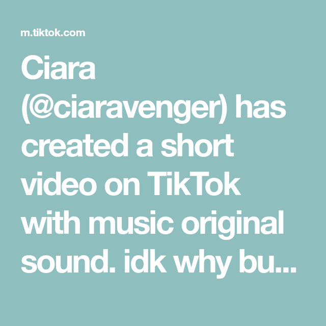 Ciara Ciaravenger Has Created A Short Video On Tiktok With Music Original Sound Idk Why But I Found This So Funny Music For Kids Hello It The Originals