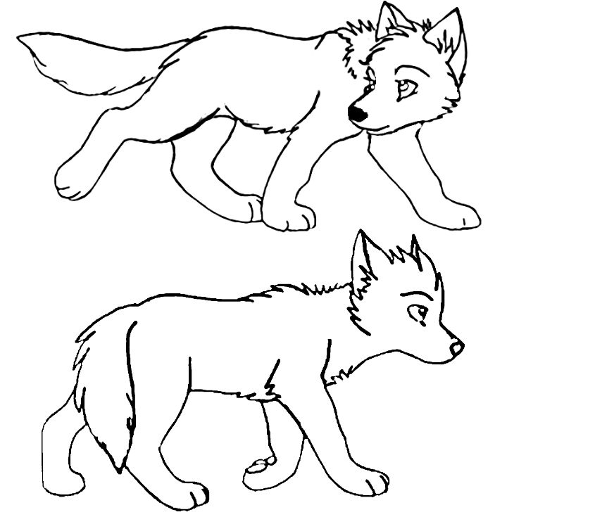 Anime Wolf Pup base | wolf pup lineart by The1andonlyRaven ...