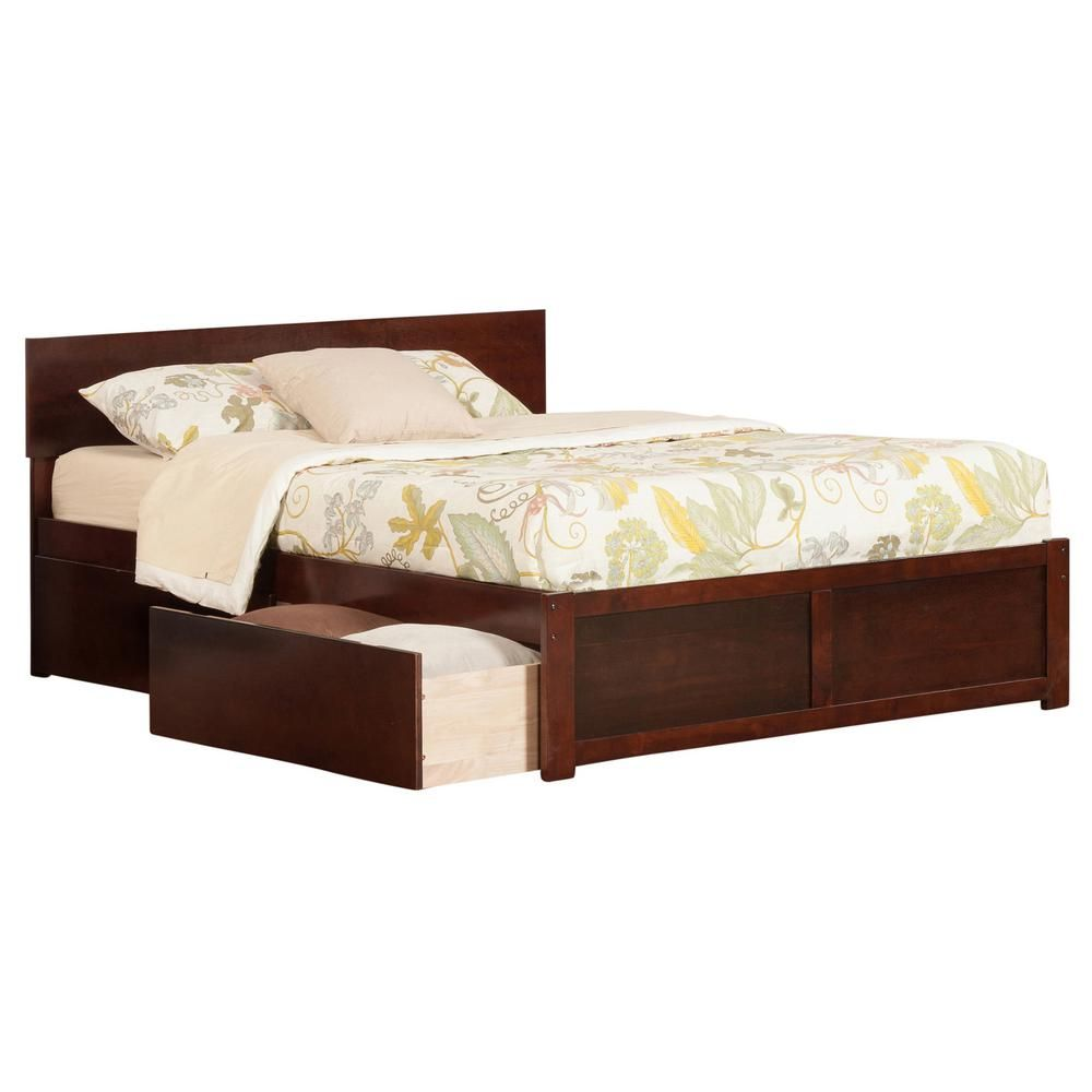 Atlantic Furniture Orlando Walnut Queen Platform Bed With Flat Panel Foot Board And 2 Urban Bed Drawers Brown Bed With Drawers Atlantic Furniture King Platform Bed