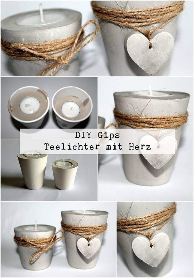 Photo of DIY plaster / concrete tealight holder with heart just make yourself