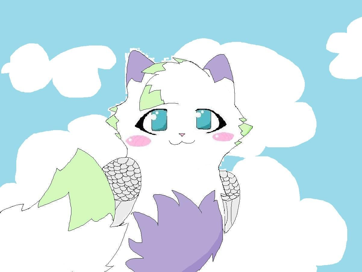 Anime Cat With Wings some cat i drew with wings. im a beginner animationer so don