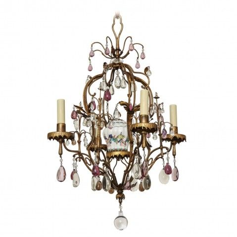 \BAGUES\ Gilt Bronze and Tole four light chandelier with porcelain chinoiserie urn and clear and amethyst crystal sprays. France,