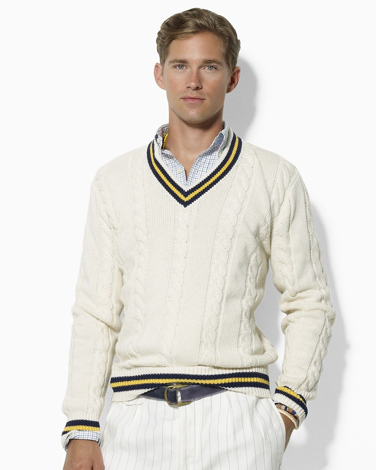 POLO RALPH LAUREN CABLE-KNIT CRICKET SWEATER  c859d0caf