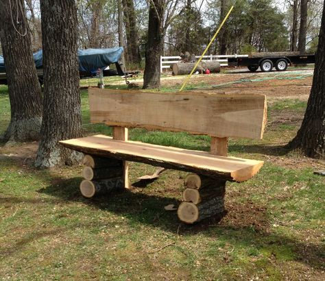 Country Log Slab Bench Wood Projects