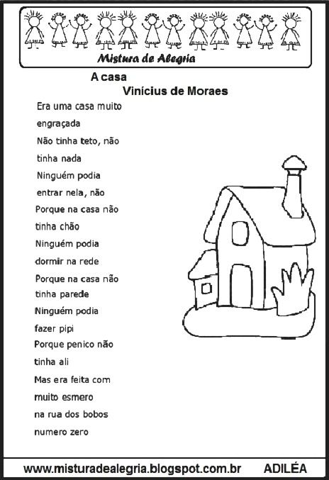Poema A Casa Vinicius De Moraes Para Imprimir E Colorir Com