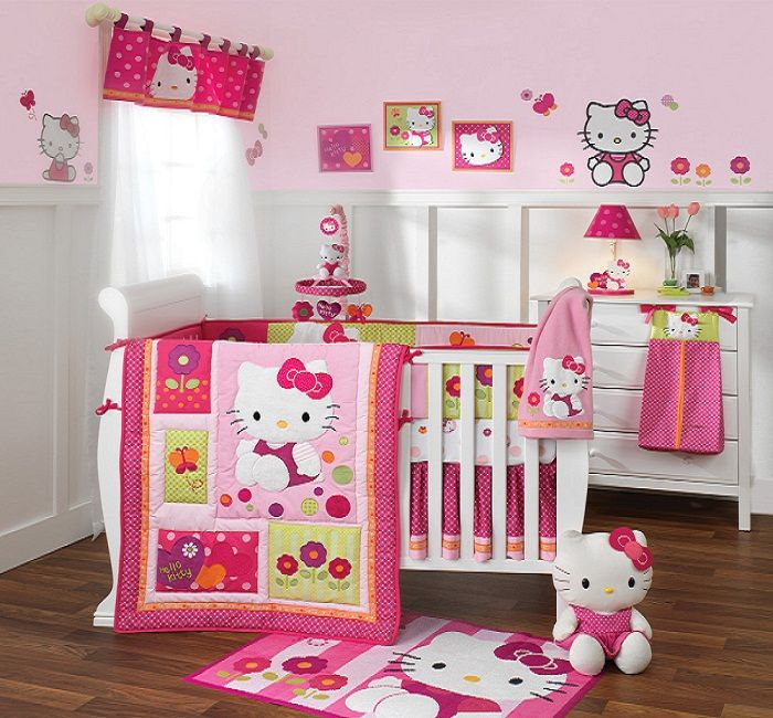 Hello Kitty Baby Crib Bedding Set Designs With Cute Painting Ideas