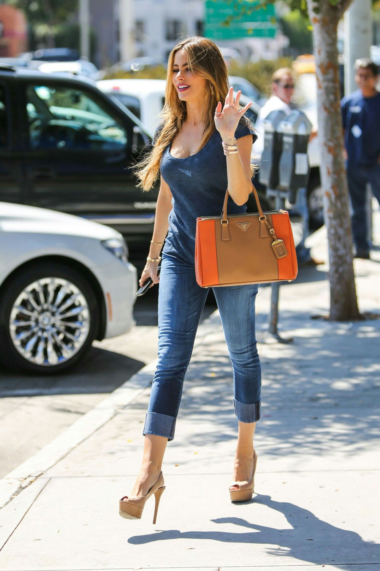 Celebrities in skinny jeans and high heels