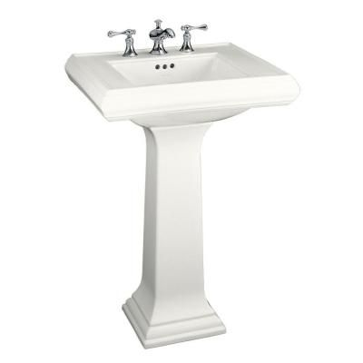 Kohler Memoirs Classic Ceramic Pedestal Combo Bathroom Sink In White With Overflow Drain K 2238 4 0 Pedestal Sink Traditional Bathroom Sinks Kohler Memoirs