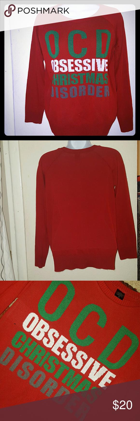 OCD Christmas Sweater Red festive sweater. OCD Obsessive Christmas ...