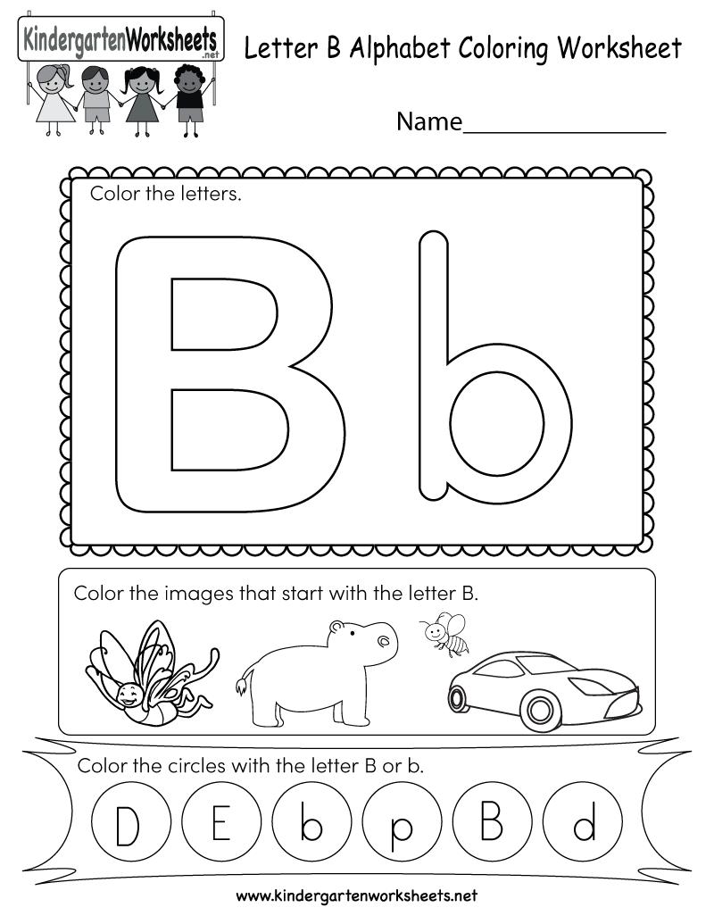 Letter B Coloring Worksheet Free Kindergarten English Worksheet For Kids Letter B Worksheets Alphabet Kindergarten Kindergarten Letters