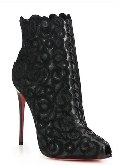 Christian Louboutin ♡ Indiboot Embroidered Suede Booties