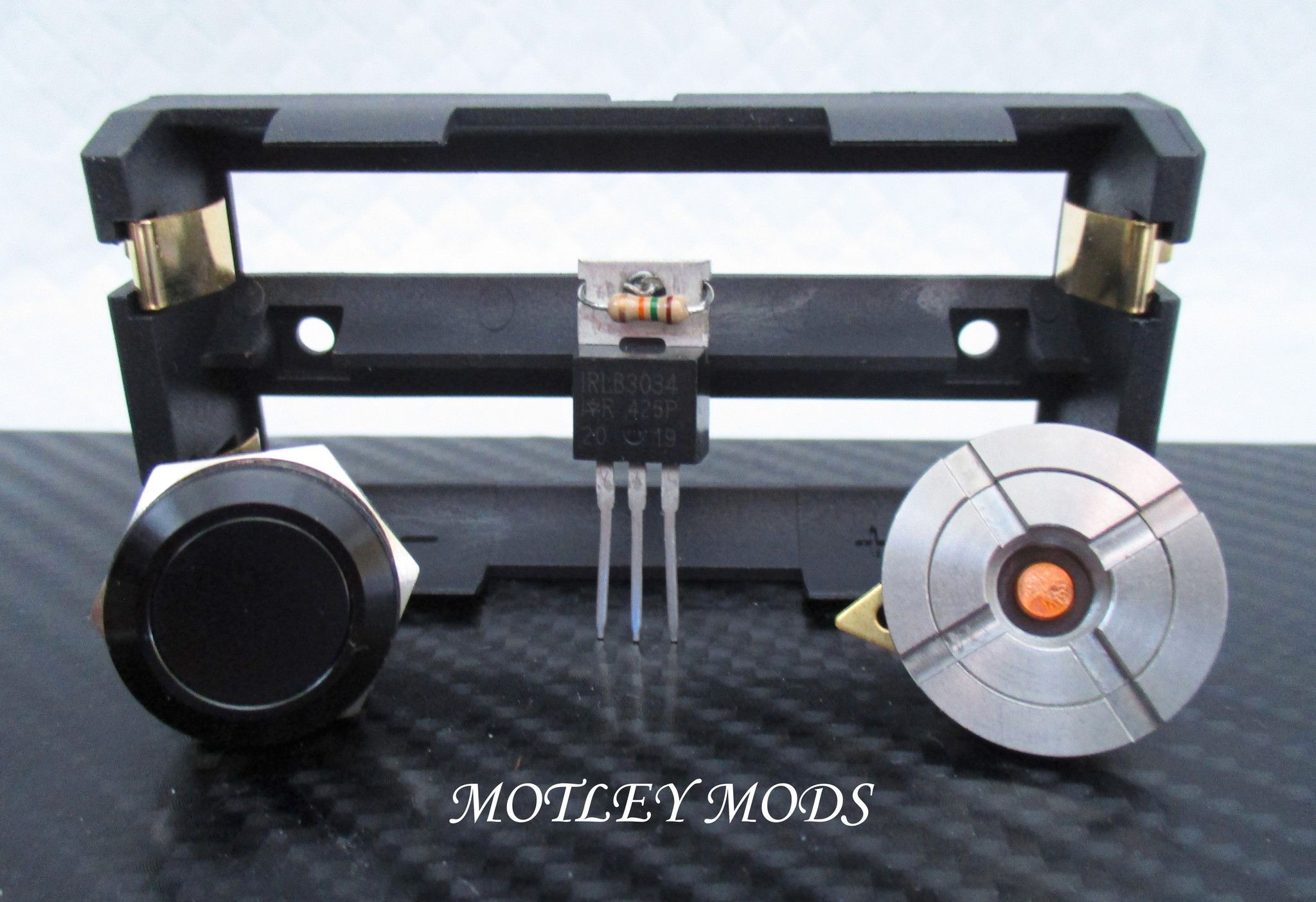 * 3034 Mosfet with 15k resistor * 16mm Black Button * 15mm