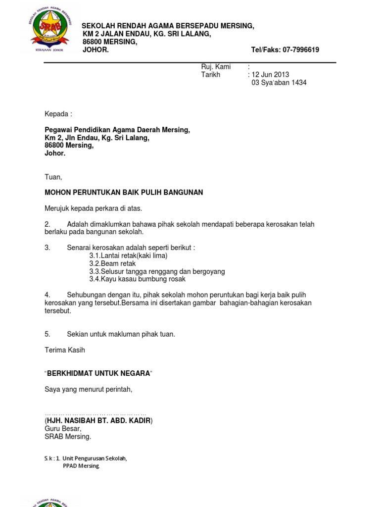 Image result for format surat rasmi permohonan PERUNTUKAN