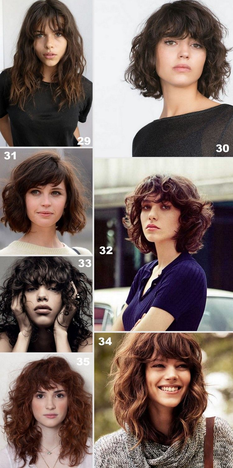 Pin by britney jean on cheveux pinterest bangs curly hair wavy