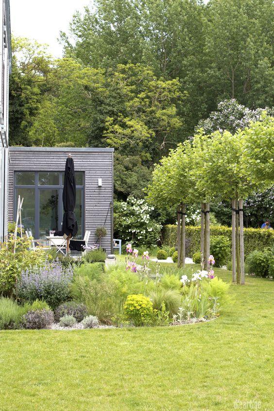 Photo of dieartigeBLOG – GARTEN // terraza, jardín de gravilla, plátanos, fachada de madera de alerce
