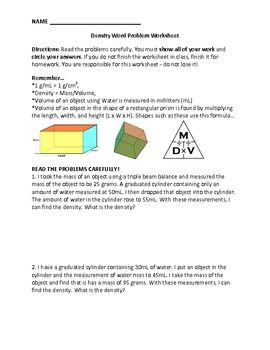 A Short Word Problem Worksheet That Uses Density As Its Focus