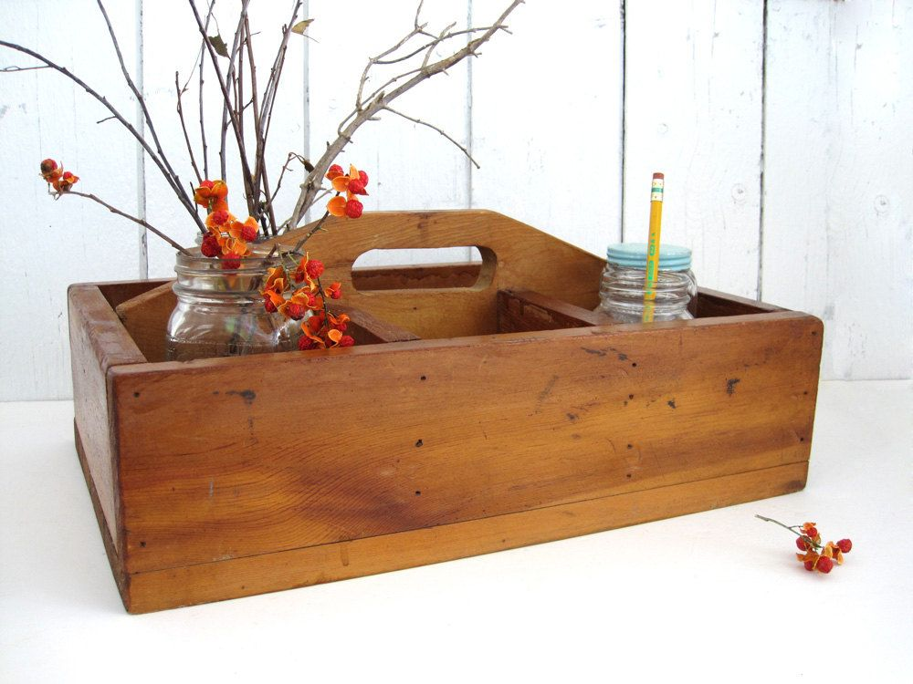 Vintage Wood Tote Carrier Tool Box Rustic