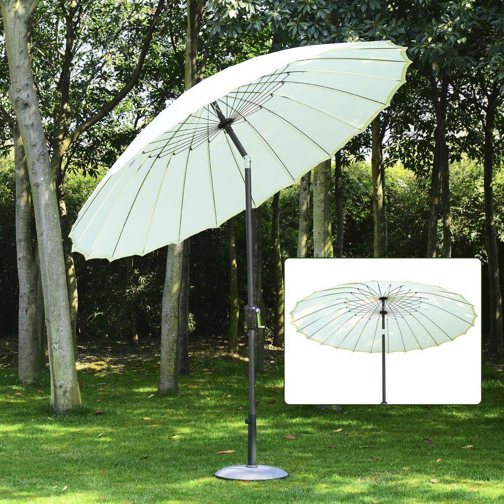 Outsunny Alu Sonnenschirm Gartenschirm Balkonschirm Weiß ø 25m X H