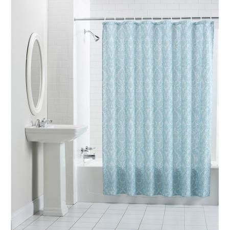 Mainstays Persia Fabric Shower Curtain Blue Shower Curtains