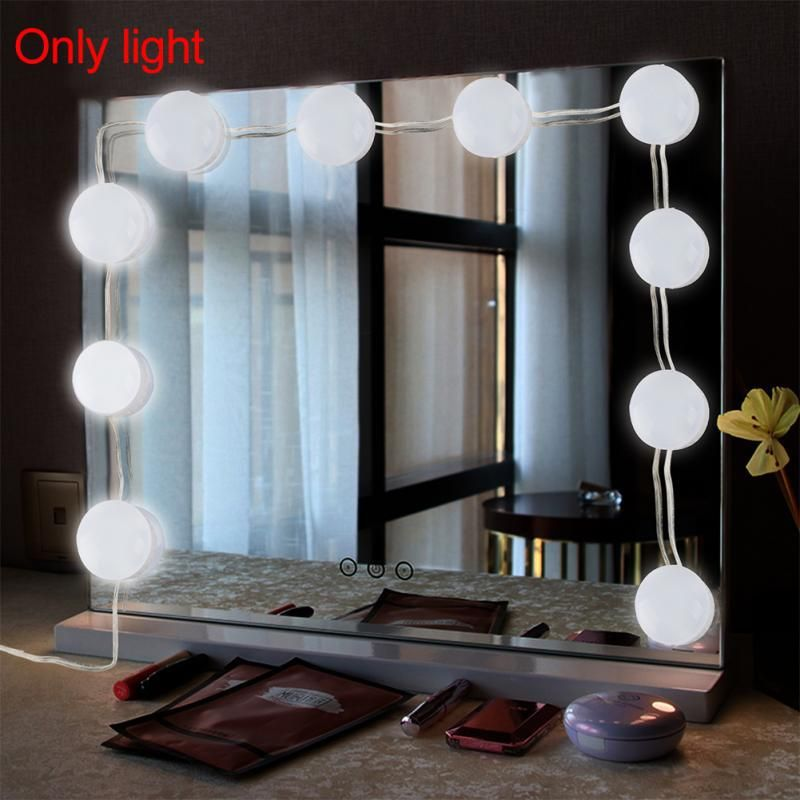 Makeup Mirror Led Lights 10 Hollywood Vanity Light Bulbs For Dressing Table With Dimmer And Plug In Linkable With Images Makeup Mirror With Lights Mirror With Led Lights Mirror With Lights