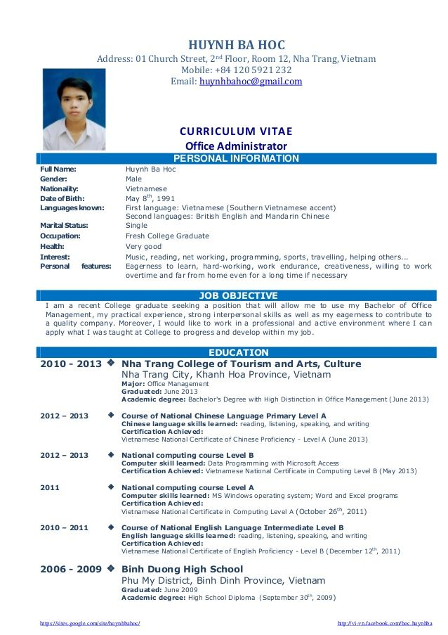 cv-resume-sample-for-fresh-graduate-of-office-administration-1-638 - Sample Music Resume