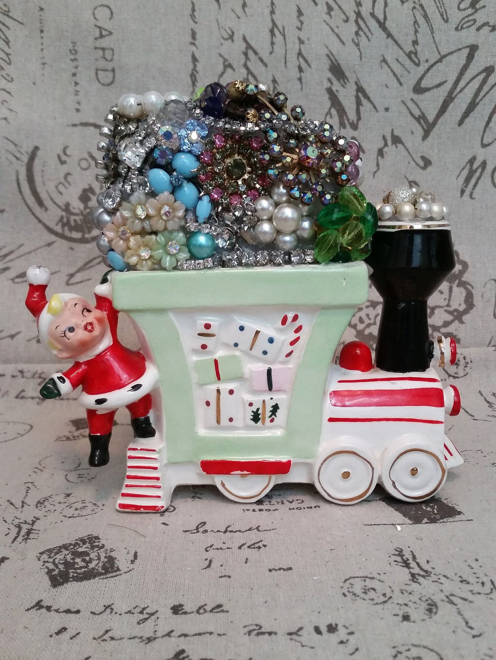 Vintage Girl Christmas Planter Train Loaded With Rhinestones, Jewlery And