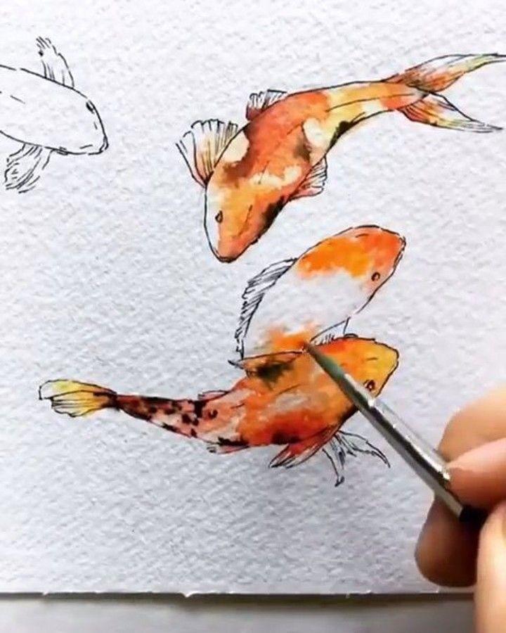 Alongtimealone Group Eight Koi Carp Watercolour Alex Egan