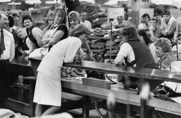 1988-09-27 Diana chats to workers at the Ford Motor Company's Halewood Operation in Liverpool, Merseyside