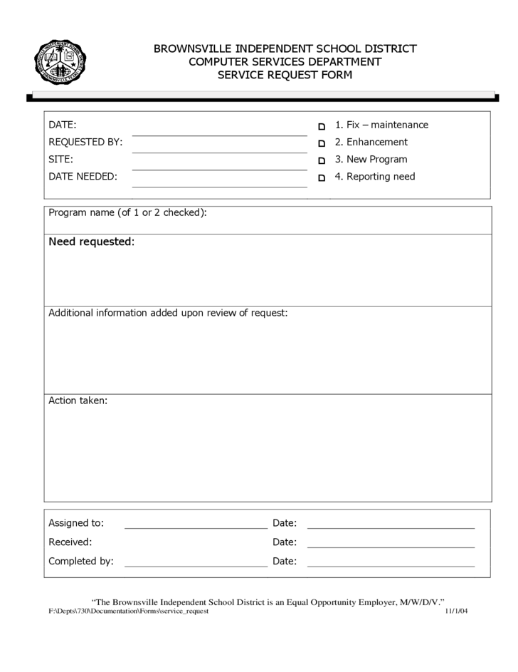 Service Request Form Template 1 Word Template Templates Order Form Template