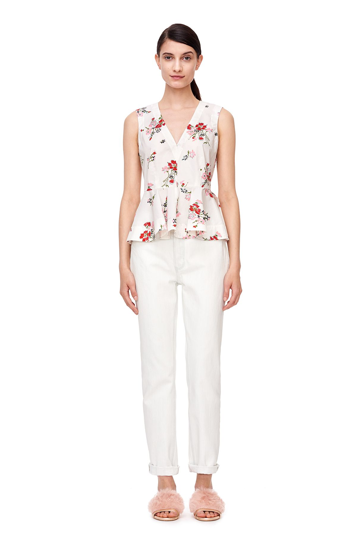 A bold floral top with peplum in cotton poplin. Rebecca Taylor