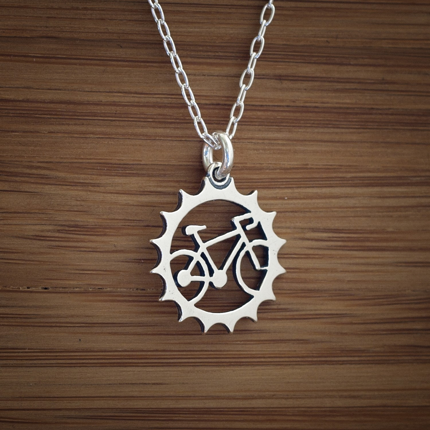 Sterling silver bicycle charm small double sided bike sterling silver bicycle charm small double sided bike chainring charm necklace or earrings aloadofball Gallery