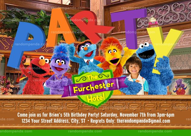 Personalize Sesame Street Invitation Furchester Hotel Party Elmo