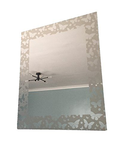 Butterfly Frosted Edge Mirror Bathroom Bedroom Front Room Vintage ...