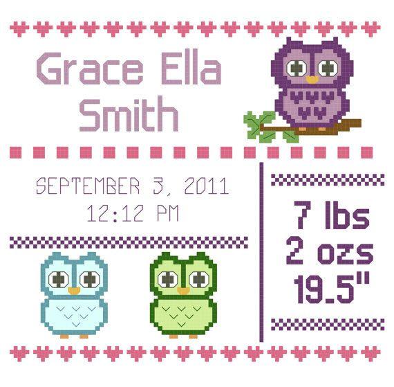 Owl Cross Stitch Birth Announcement Pattern By Awishandastitch Owl Cross Stitch Cross Stitch Baby Cross Stitch