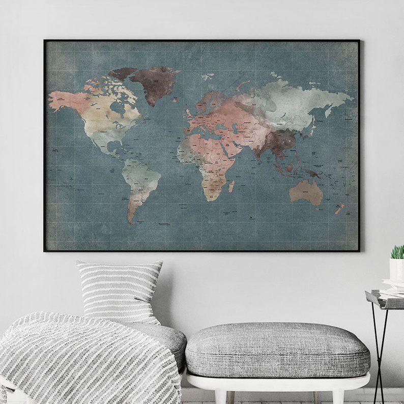 Grand Mur Affiche De Monde De Carte Affiche Carte Detaillee Etsy