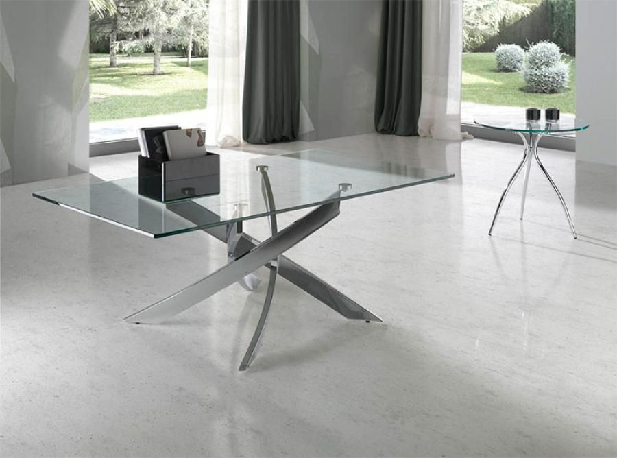 Angel Cerda Contemporary Glass And Chrome Coffee Table