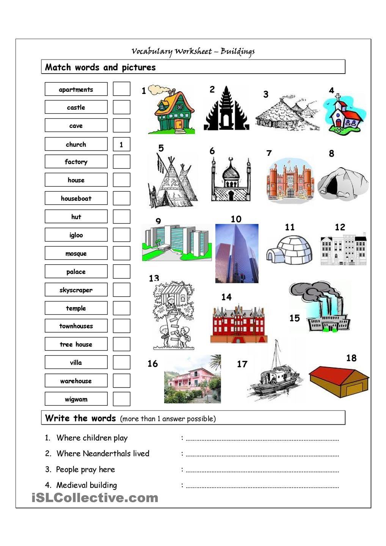 Vocabulary Matching Worksheet - Buildings | English Language, ESL ...